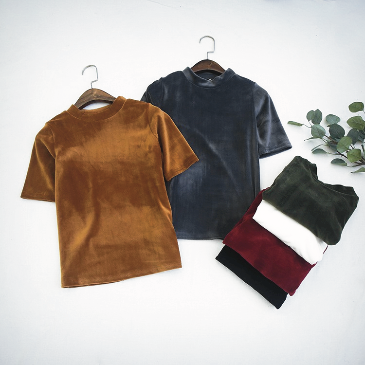 Fitted Velvet Mock Turtleneck Tee (6 colours) - Ice Cream Cake