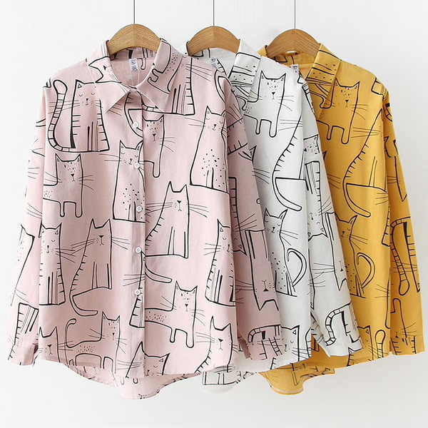 Cat Pattern Blouse (3 Colours) - Ice Cream Cake