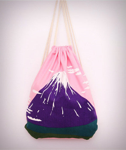 Mount Fuji Canvas Drawstring Backpack - Ice Cream Cake