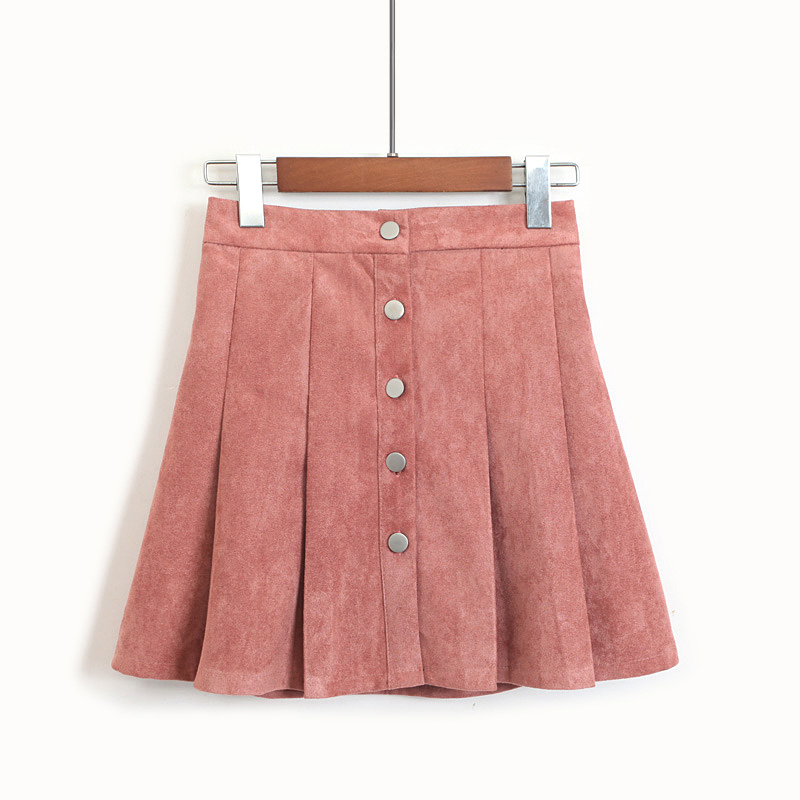 Button Front Suede Style Semi-Pleat Skirt (4 Colours) - Ice Cream Cake