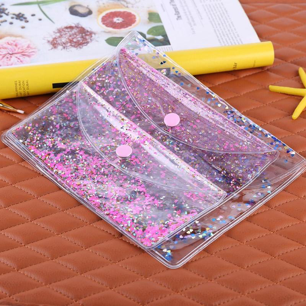 Heart Glitter Quicksand Snap Pouch (3 Sizes/Colours)
