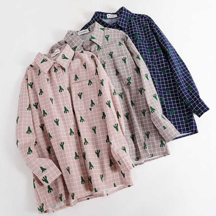 Cactus Grid Pattern Blouse (3 Colours) - Ice Cream Cake