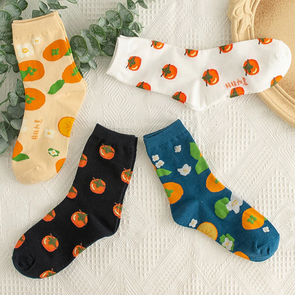 Orange Ankle Socks (4 Colours)