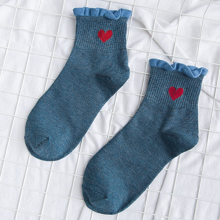 Heart Ruffle Ankle Socks (6 Colours)