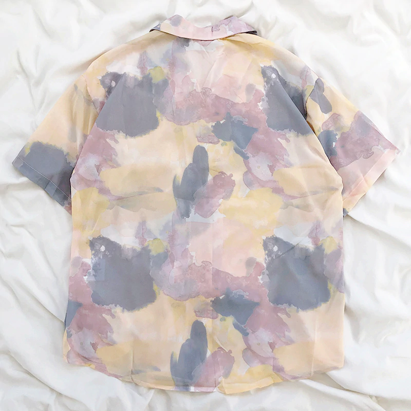 80s Oil Slick Print Blouse (2 Colours)