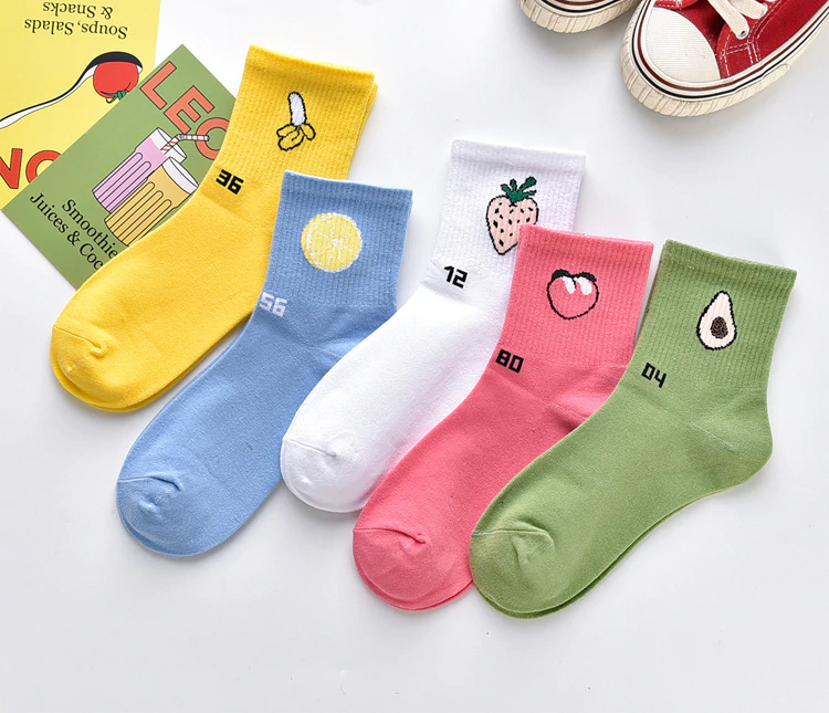 Number Fruit Ankle Socks (5 Designs)