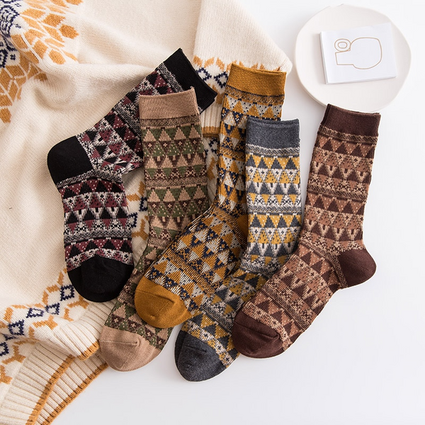Nordic Pattern Ankle Socks (5 Colours)