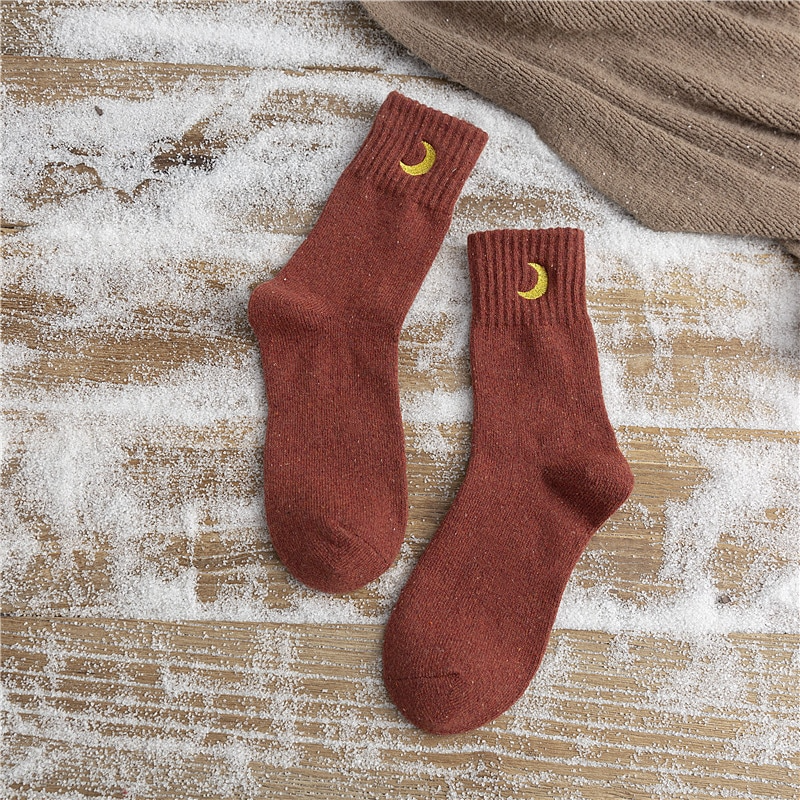 Crescent Moon Embroidery Ankle Socks (6 Designs)