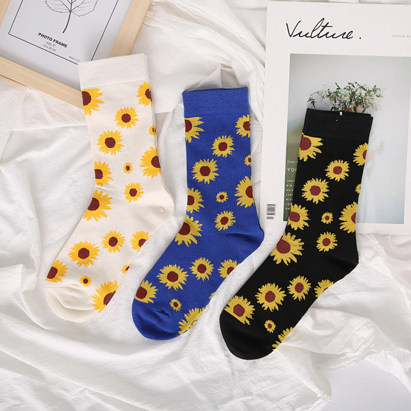 90s Style Sunflower Ankle Socks (3 Colours)