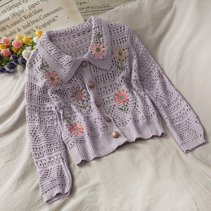 Collared Cottagecore Flower Cardigan (3 Colours)