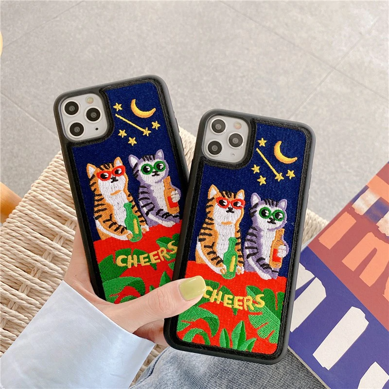 Embroidered Cat Party iPhone Case