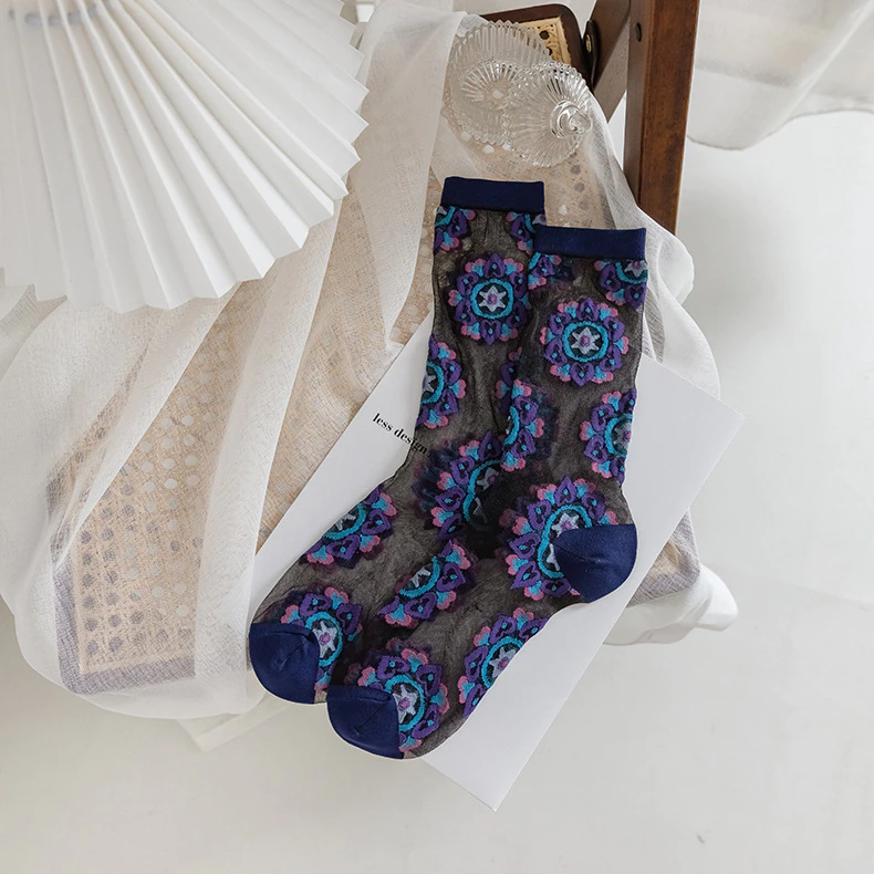 Transparent Kaleidoscope Pattern Ankle Socks (3 Colours)