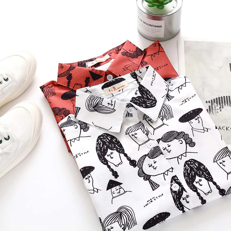Cartoon Face Pattern Blouse