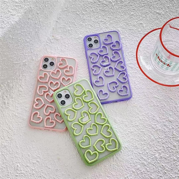 Texture Hearts Pattern iPhone Case (3 Colours)