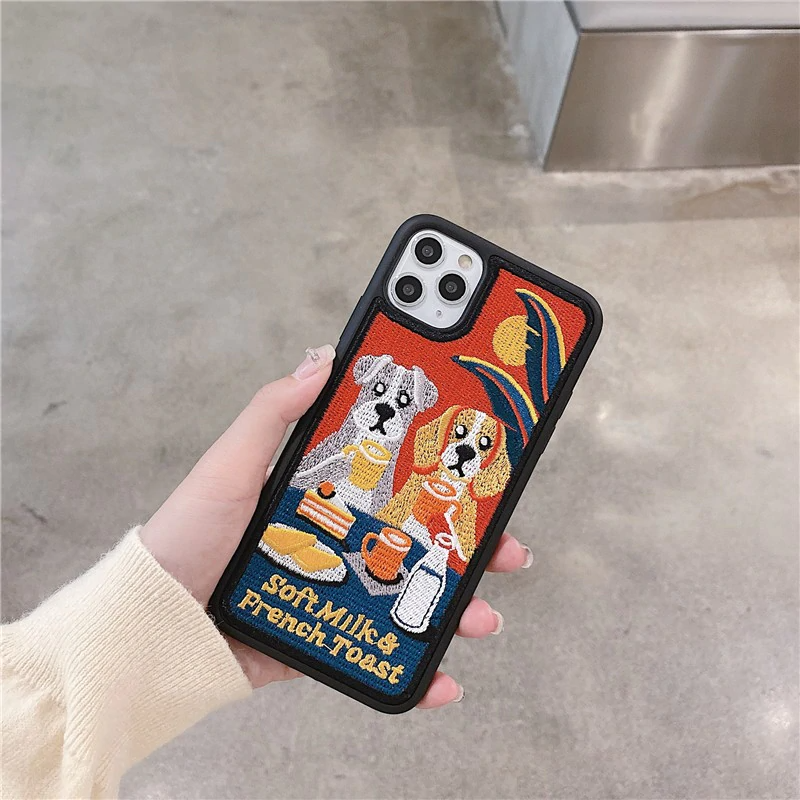 Embroidered Dog Breakfast iPhone Case