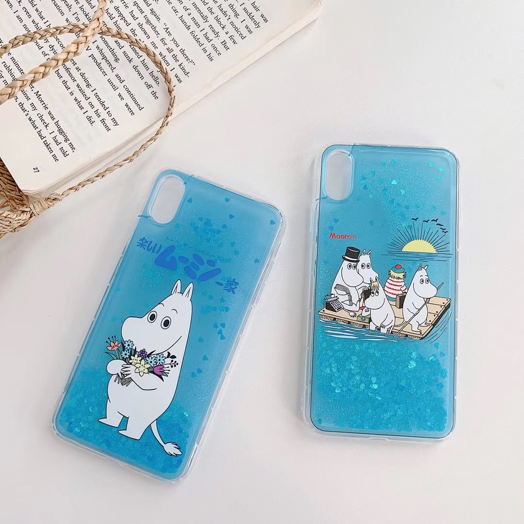 Blue Moomin Glitter Quicksand iPhone Case (2 Designs) - Ice Cream Cake