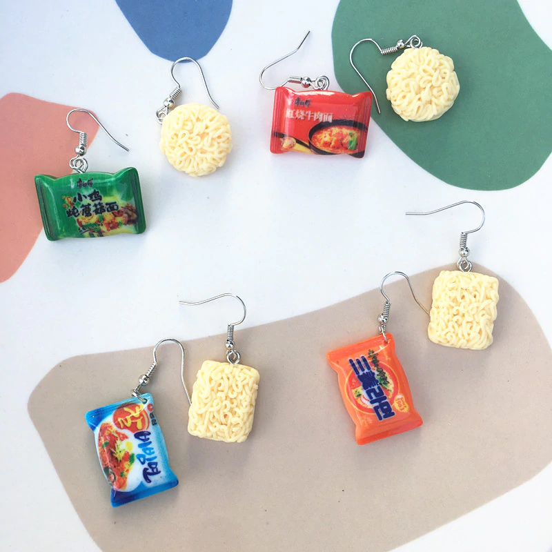 Instant Noodle Earrings (4 Designs)