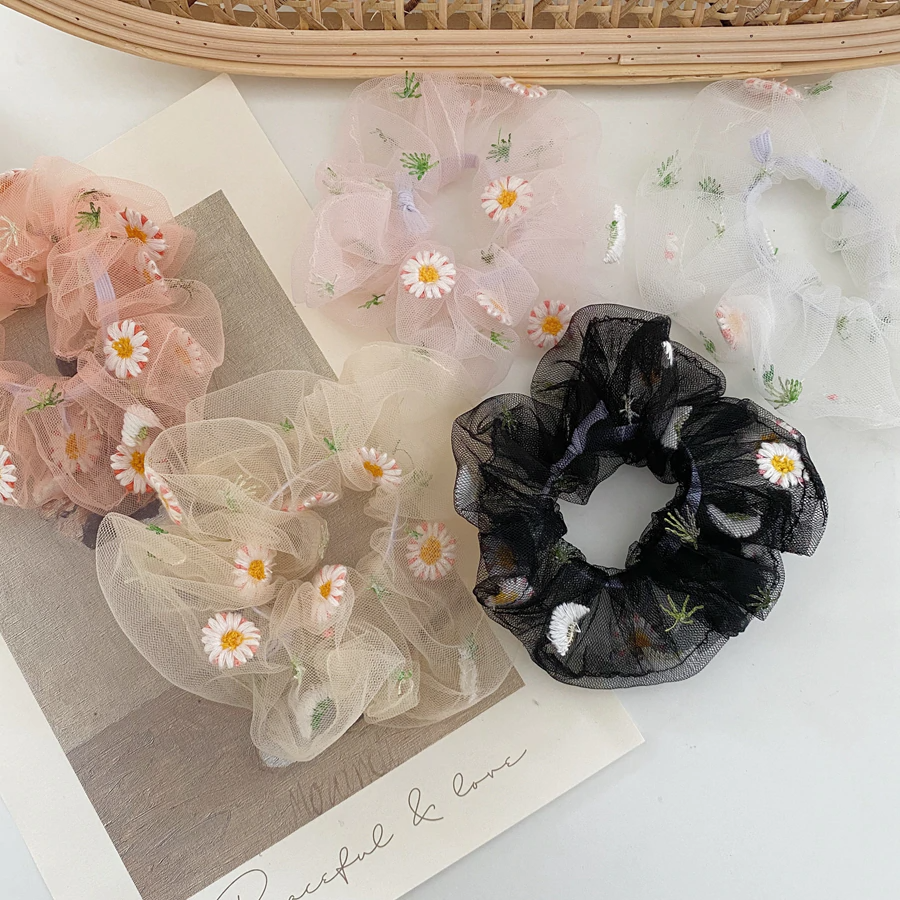 Sheer Daisy Scrunchie (11 Colours) - Ice Cream Cake