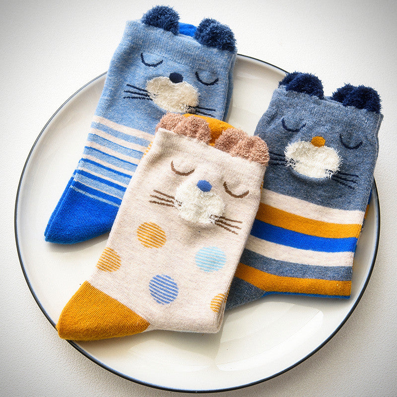 Fuzzy Faced Sleepy Cat Socks (3 Colours) - Ice Cream Cake