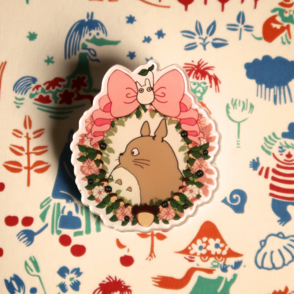 Ribbon Totoro Acrylic Badge - Ice Cream Cake