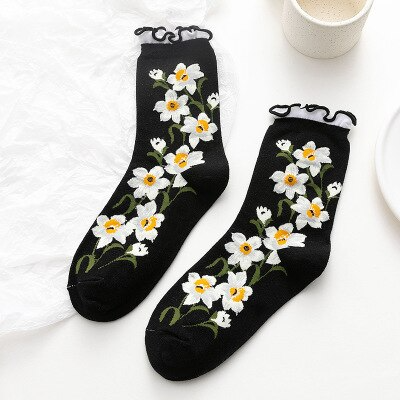 Ruffle Flower Ankle Socks (5 Colours)