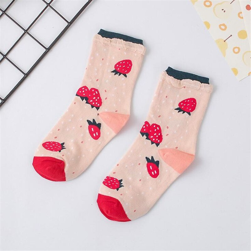 Cute Fruit Pattern Ankle Socks (6 Designs) - Ice Cream Cake