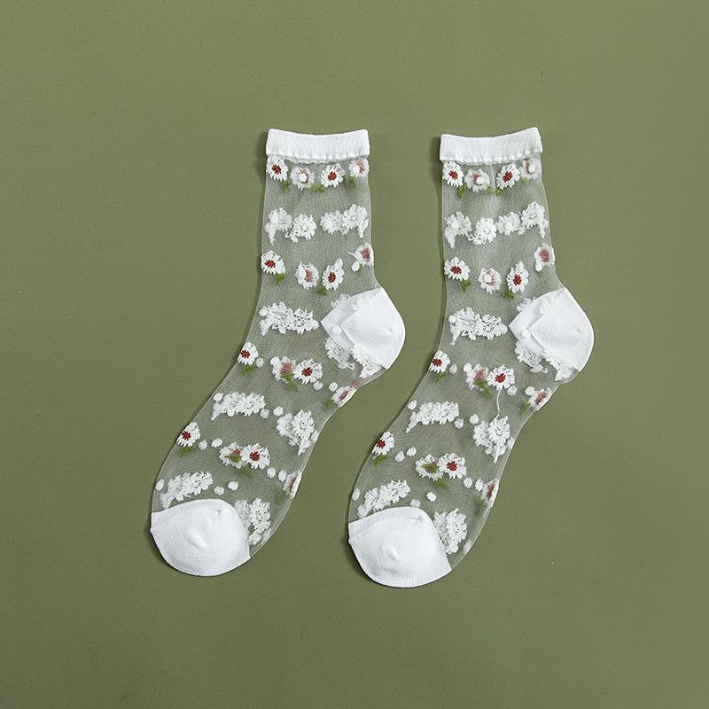 Transparent Daisy Ankle Socks (7 Colours) - Ice Cream Cake