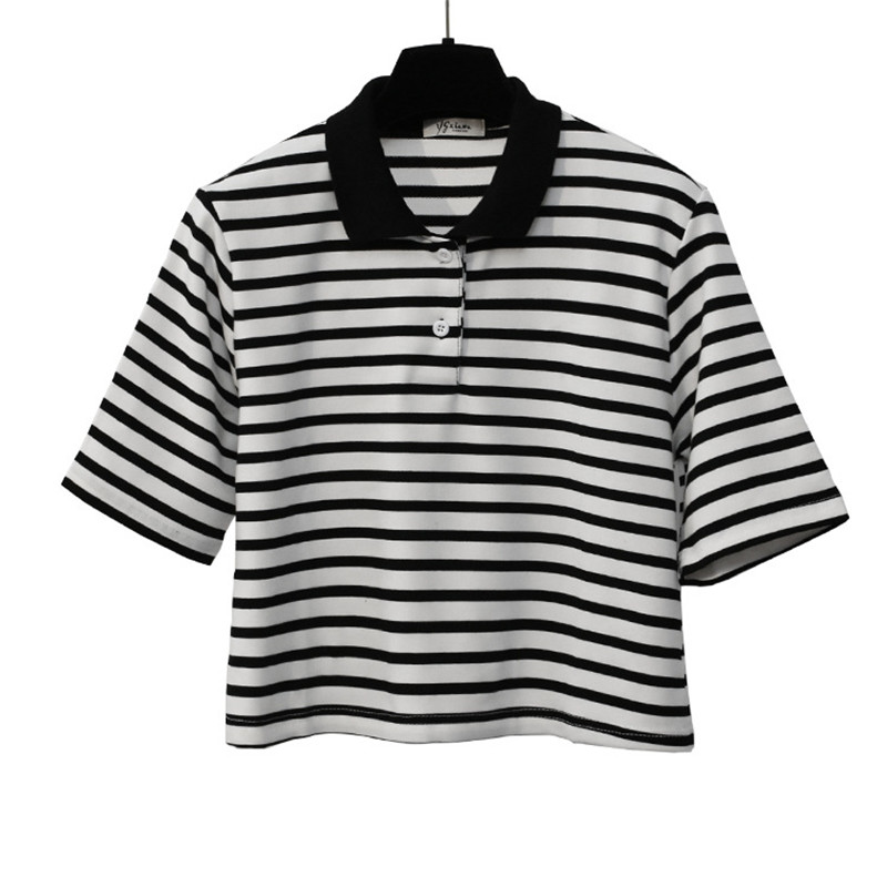 Striped Cropped Polo Shirt (2 colours) - Ice Cream Cake