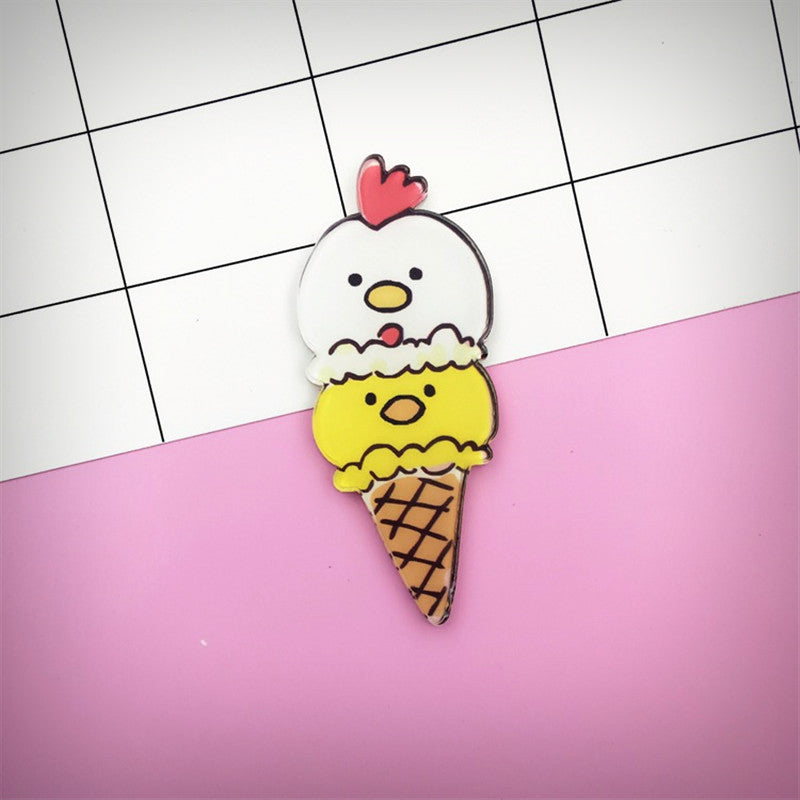 Acrylic Chicken Gelato Brooch - Ice Cream Cake
