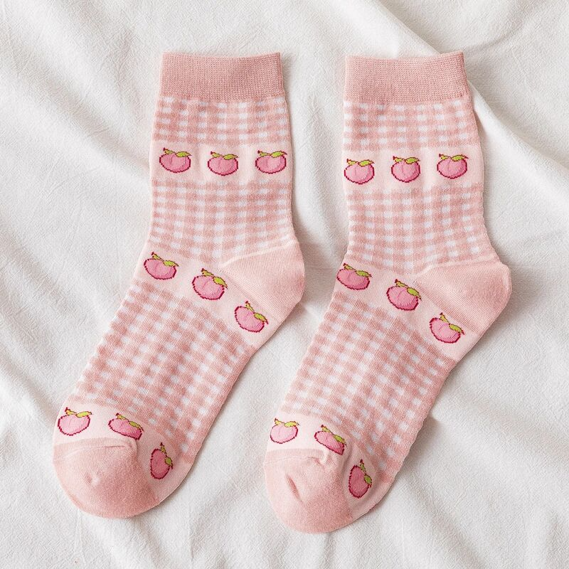 Gingham Fruit Ankle Socks (7 Designs)