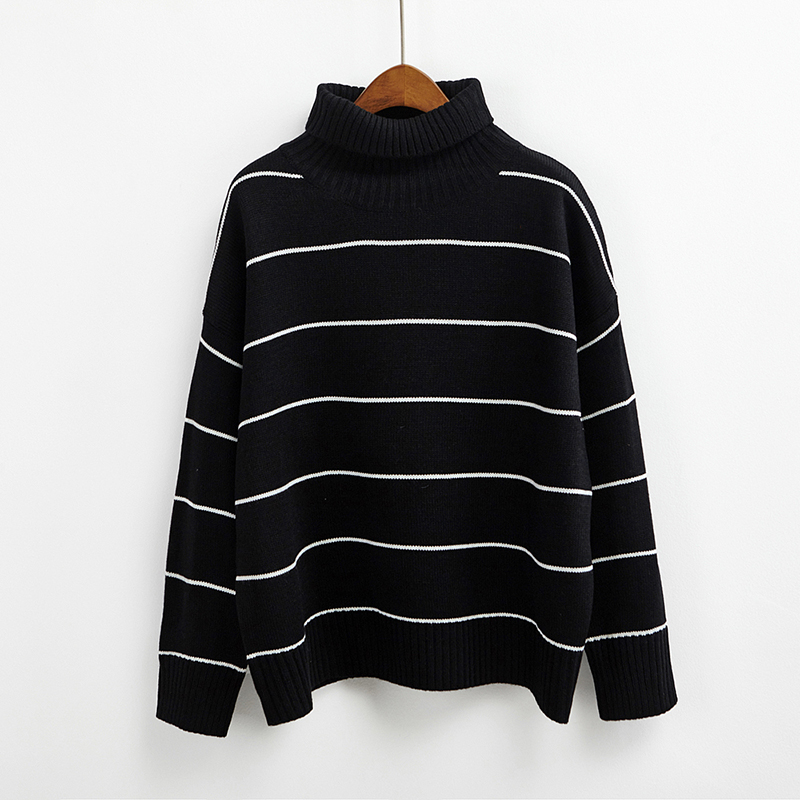 Roll Turtleneck Knit Striped Jumper (3 colours) - Ice Cream Cake