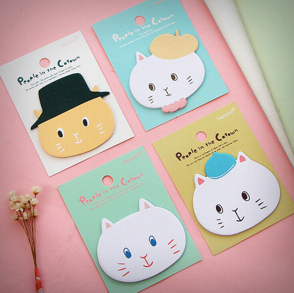 Fancy Cat Sticky Memo Notes (4 Designs) - Ice Cream Cake