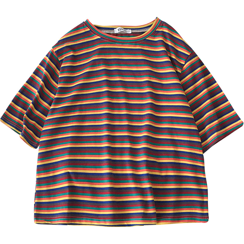 Muted Rainbow Stripe Tee - Ice Cream Cake
