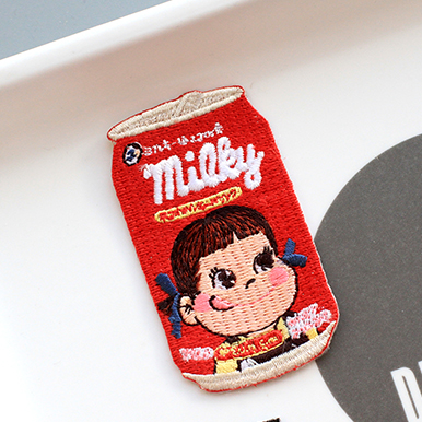 Peko Milky Candy Drink Embroidered Iron-On Patch - Ice Cream Cake