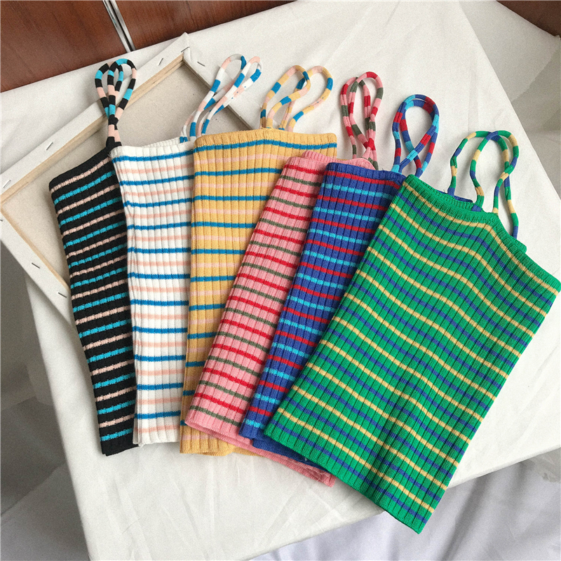 90s Stripe Knit Spaghetti Strap Top (6 Colours) - Ice Cream Cake
