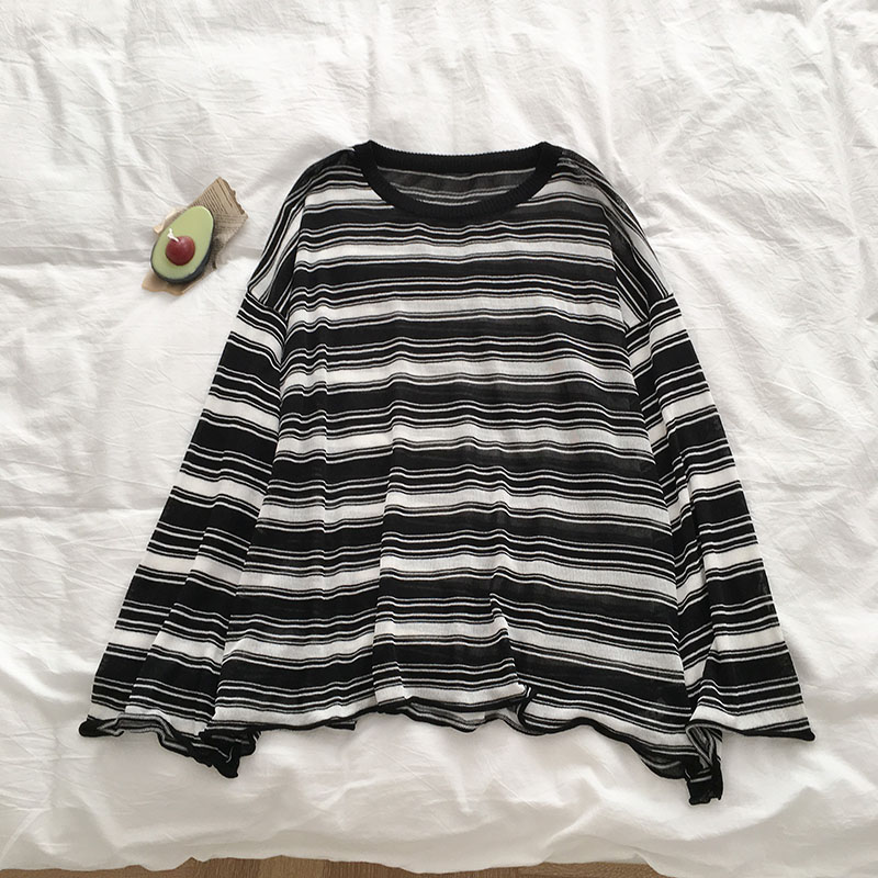 Semi-sheer Monochrome Stripe Top (2 colours) - Ice Cream Cake