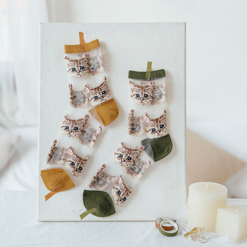 Sheer Embroidered Cat Face Socks (8 Colours) - Ice Cream Cake