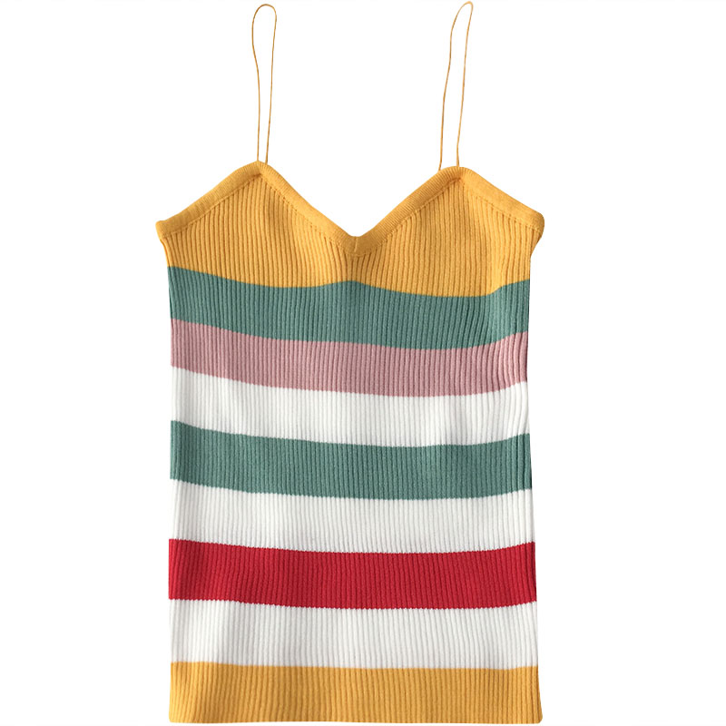 Gelato Stripe Knit Spaghetti Strap Tank (4 Colours) - Ice Cream Cake