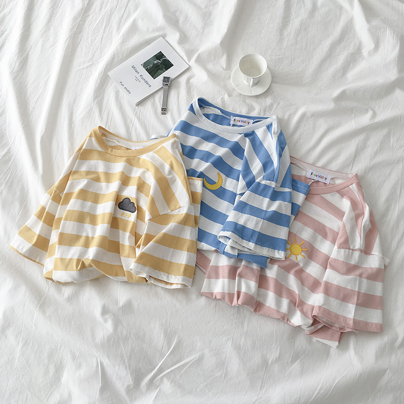Striped Weather Embroidery T-shirt (3 Colours) - Ice Cream Cake