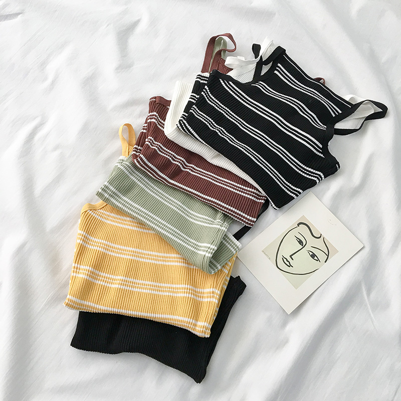 90s Stripe Knit Tank (6 Colours) - Ice Cream Cake