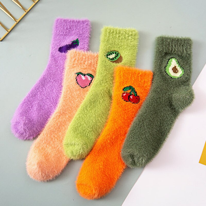 Fuzzy Fruit Embroidery Ankle Socks (5 Designs)