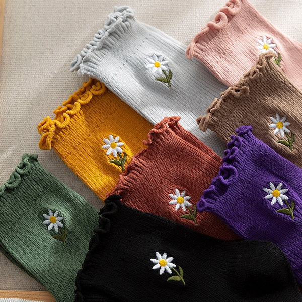 Frilly Daisy Socks (8 Colours)