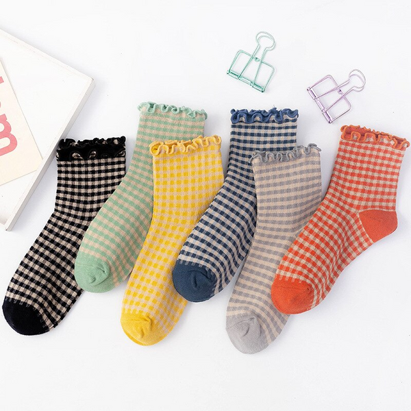 Frilly Gingham Pattern Ankle Socks (6 Colours)