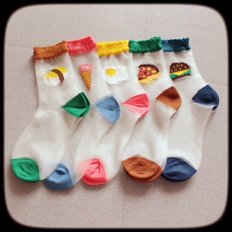 Sheer embroidered snack socks - Ice Cream Cake
