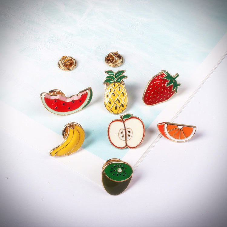 Glossy Fruit Enamel Pins (7 Designs) - Ice Cream Cake