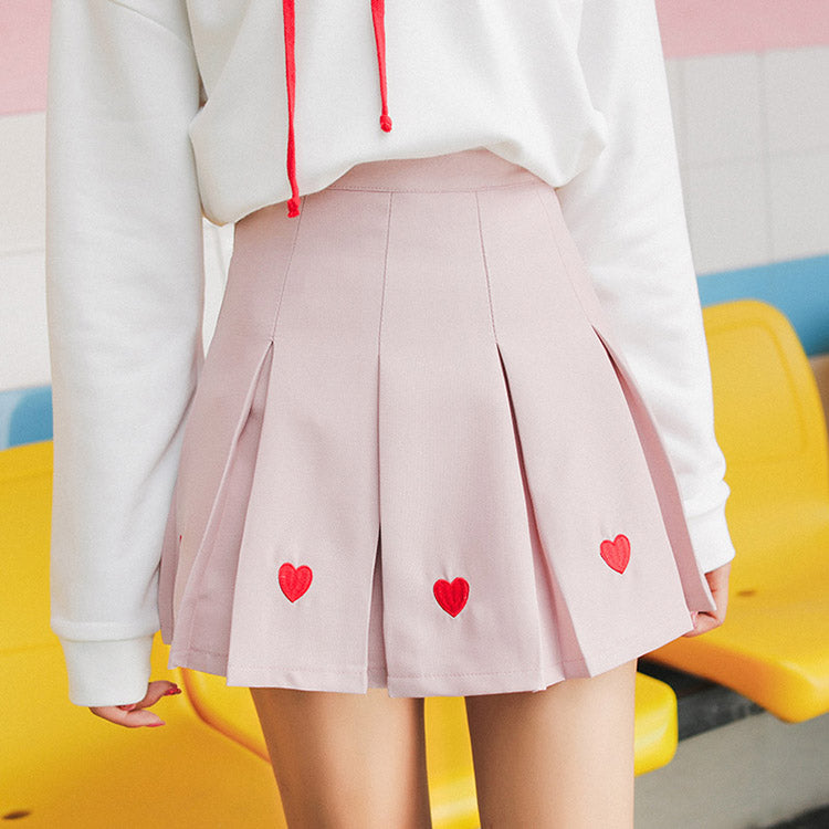 Heart Embroidery Pleat Skirt (3 Colours) - Ice Cream Cake