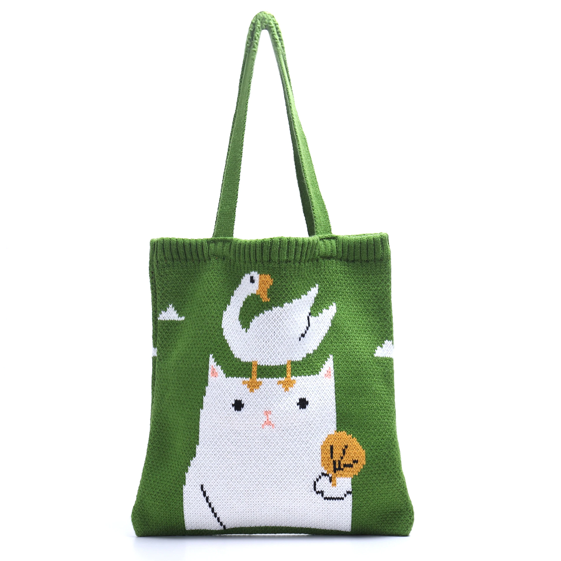 Cat and Duck Knitted Tote