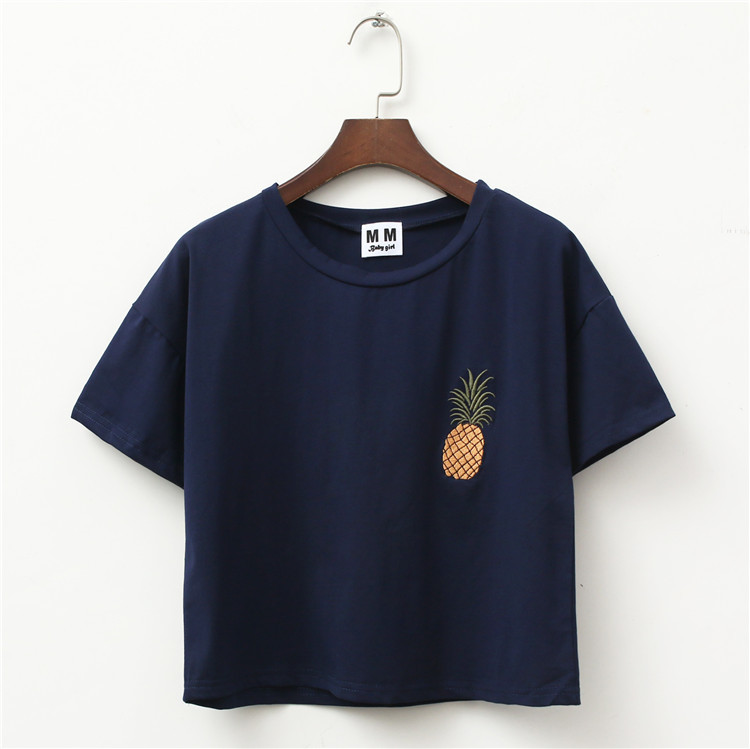 Multicolour Pineapple Embroidery Tees (4 colours) - Ice Cream Cake