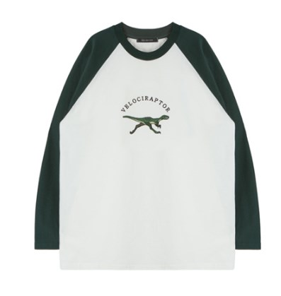 Velociraptor Embroidery Baseball Tee (2 Colours)
