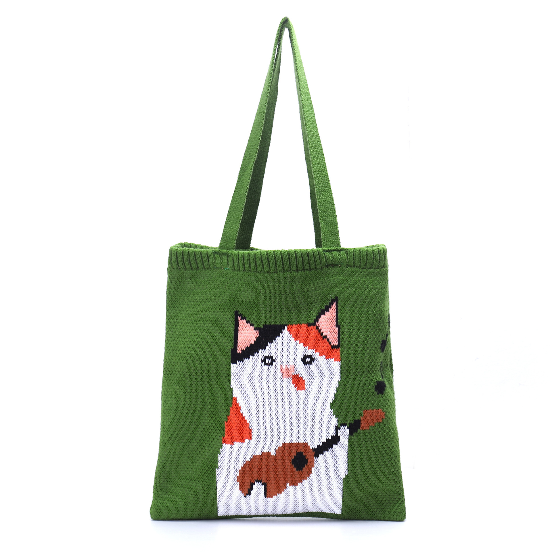 Guitar Cat Knitted Tote